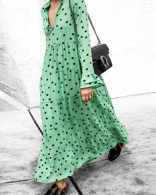 Polka-dot Long Sleeves Maxi Dress
