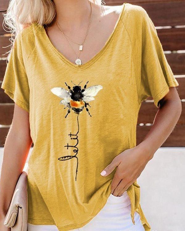 Bee Printed Short Sleeve V Neck Shirts & Tops