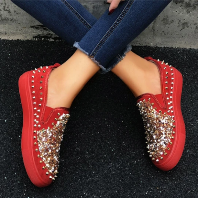 2020 New And Fashional Sneakers Women Daily Fashion Sequin Rivet Slip-on Loafers