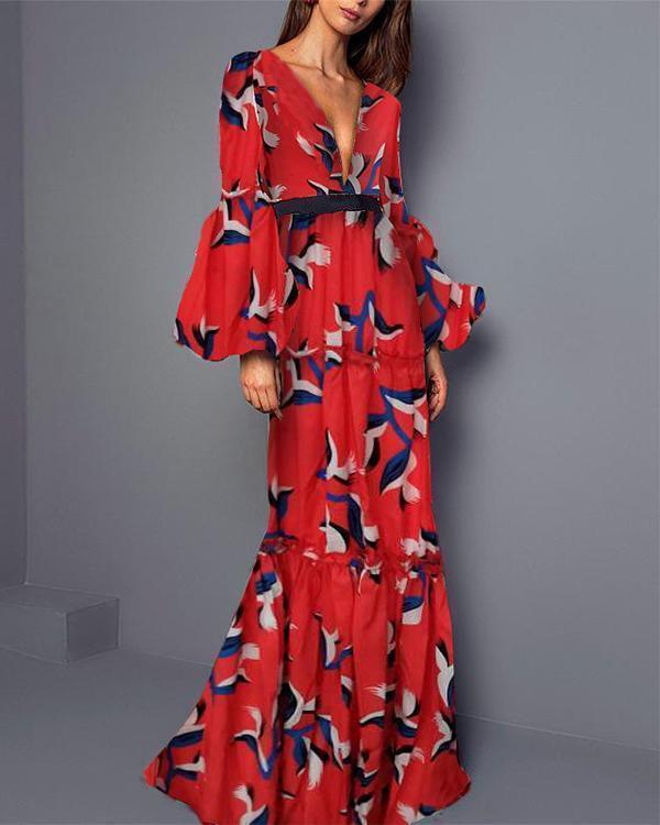 Elegant Women Party Dress Casual Spring V Neck Maxi Dresses