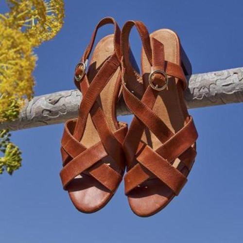 Women Casual Flat Heel Adjustable BuckleSandals