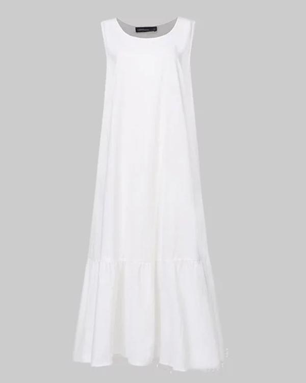 Linen Plain Crew Neck Casual Maxi Dresses