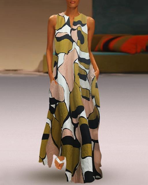 Vintage V Neck Camo Sleeveless Maxi Dresses