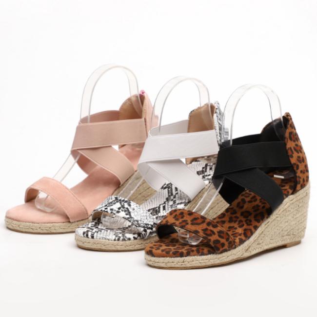 2020 New Fashion Woman Leopard Wedge Sandals