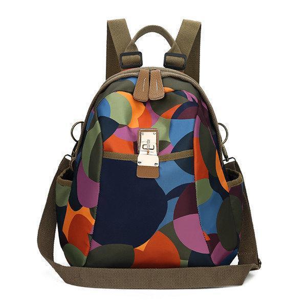 Women Elephant Print Travel Backpack National Shoulder Bag