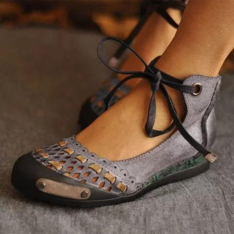 Hollow-Out Flat Heel Daily Suede Flats