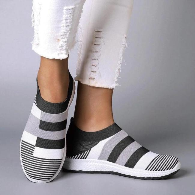 Women Comfy Color Block Sneakers Slip-on Running Shoes