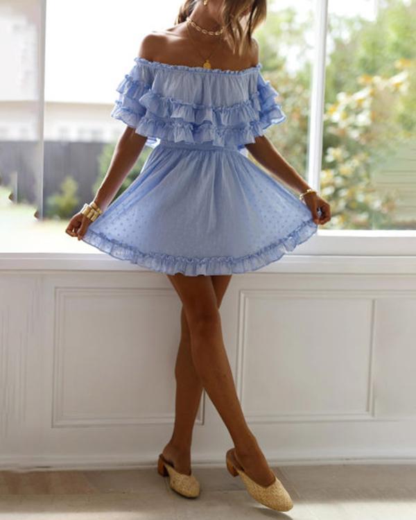Striped Lace Cake Mini Dress