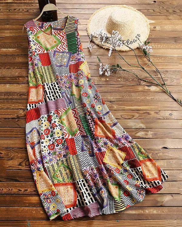 Vintage Print Floral Patch Sleeveless Crew Neck Dress