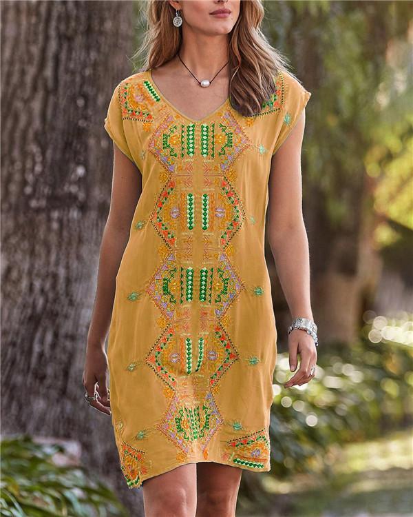 Bohemian Folk V Neck Holiday Daily Fashion Mini Dresses