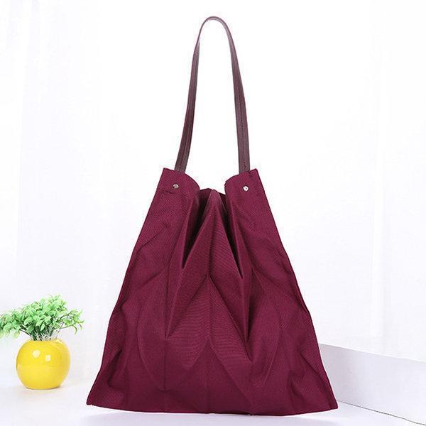 Women Organ Fold Canvas Bag Solid Shoulder Bag