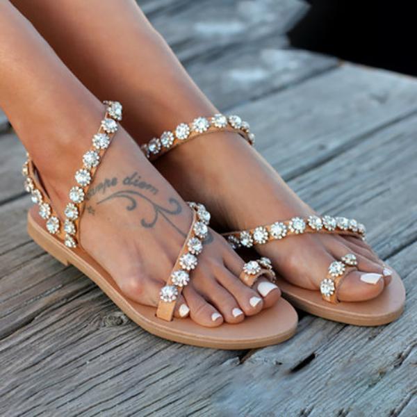 Women PU Rhinestone Flat Heel Sandals Flip Flop Style Large Size