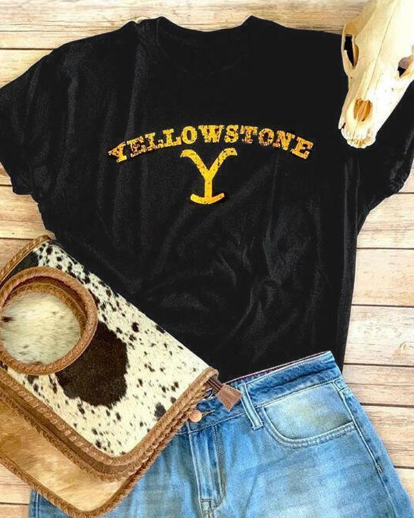 Short Sleeve Letter Shift Shirts & Tops