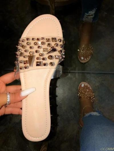 Slip-On Rivet Flip Flop Flat With Slippers