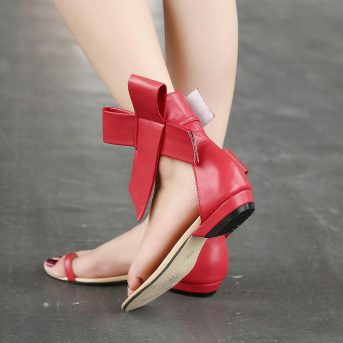 2020 Woman Casual Retro Bow Big Bowtie Flat Sandals