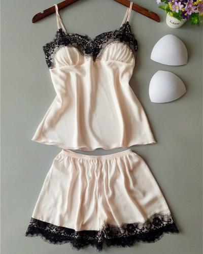 Satin Eyelash Lace Cami Set