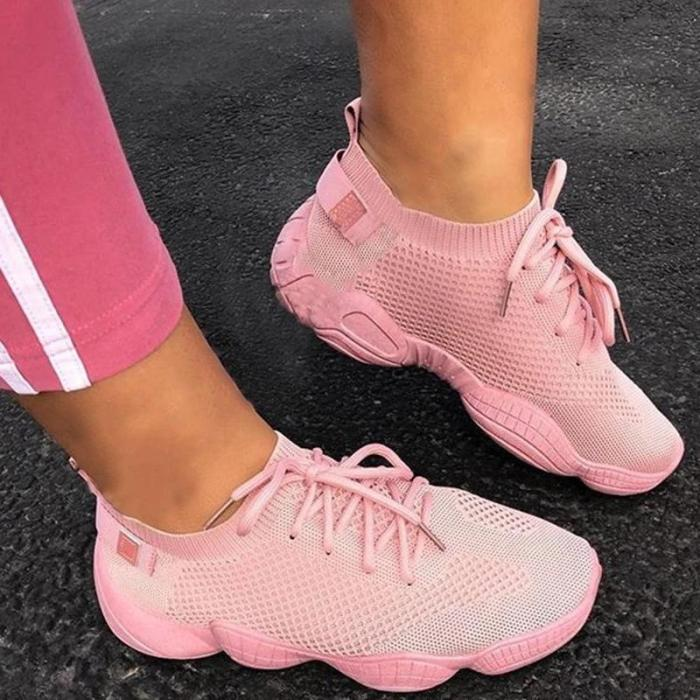 Lace-Up Round Toe Low-Cut Upper Plain Sneakers