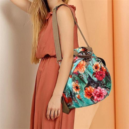Multifunctional Flower Pattern Bag Waterproof Backpack
