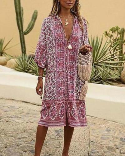 Bohemian Style V Neck Printing Summer Dresses