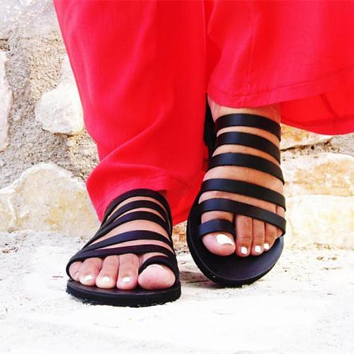 Peep Toe Beach Sandals Strappy Roman Slippers