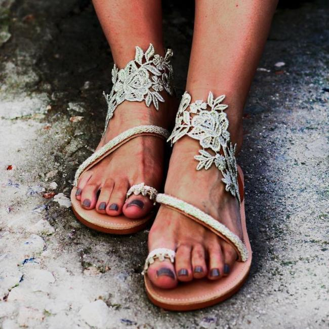 Hand-knit Flat Embroidered Sandals