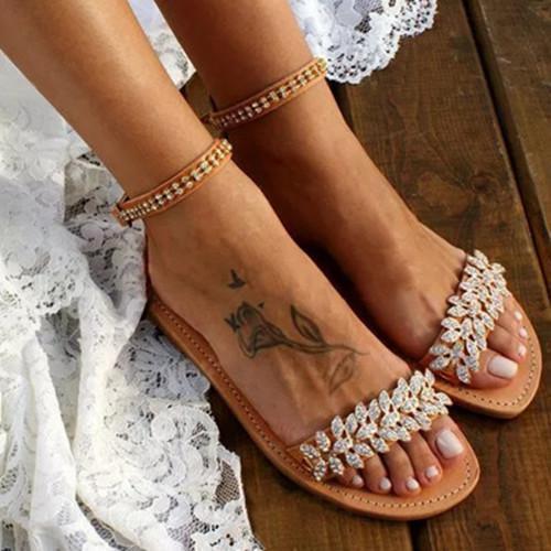 Women Adjustable Buckle Low Flat Heel Sandals