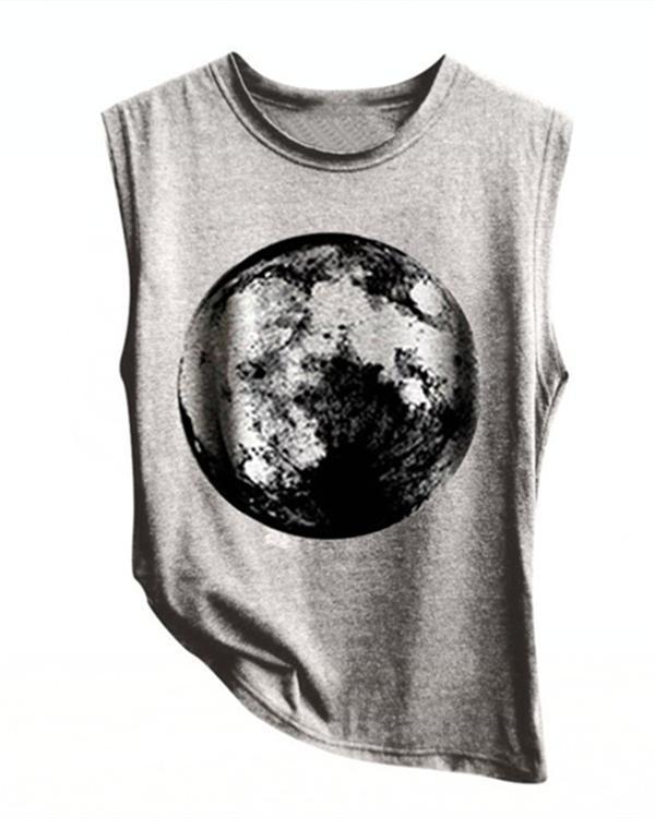 Summer Earth Printed Women Vest Shirt