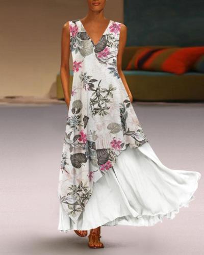 Floral V Neck A-Line Daily Vintage Dresses