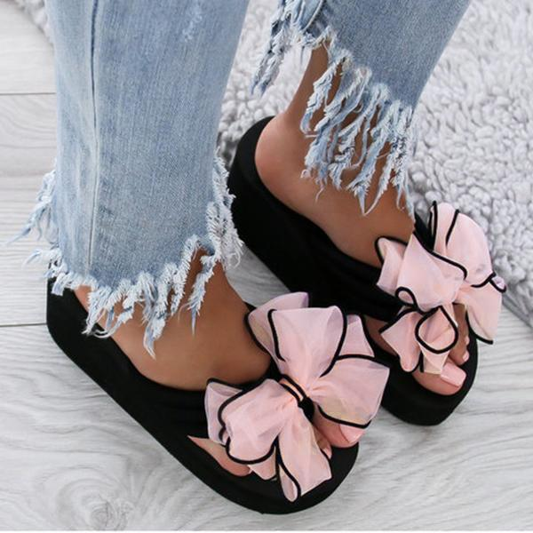 Casual Thick Non-slip Bow Slippers