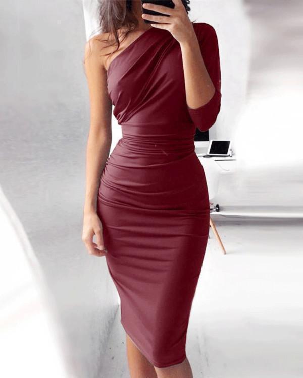 Three-Quarter Sleeve Knee-Length Asymmetric Date Night/Goting Out Plain Dress
