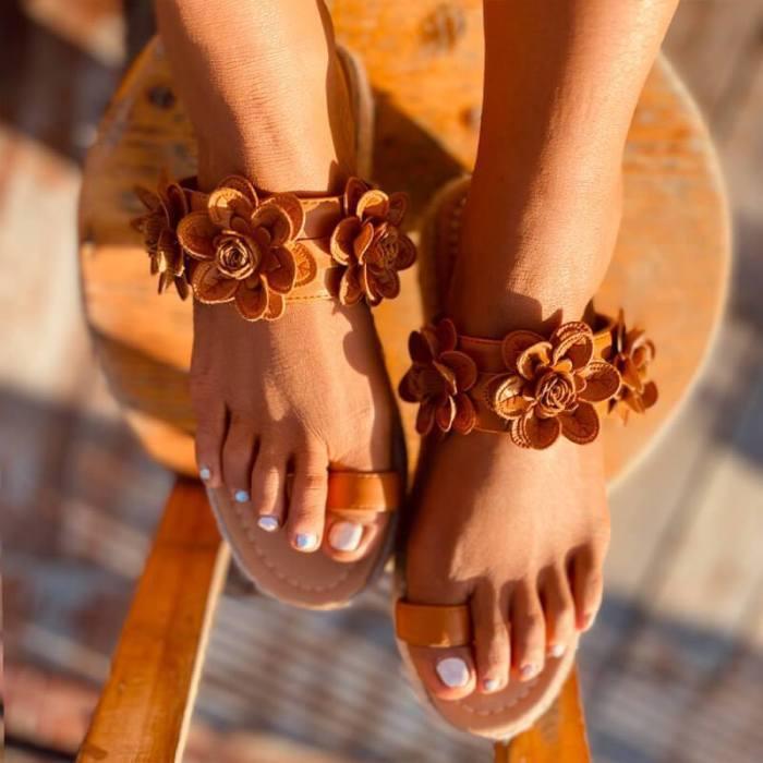 Women Summer Flower Pattern Thongs Grass Weaving Slippers