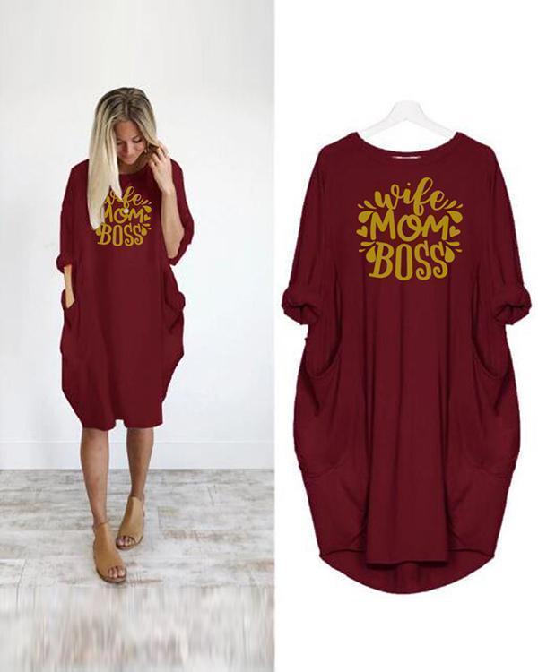 Printing Oversized Long T-Shirt Midi Dress With Pockets