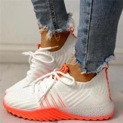 Colorblock Knitted Breathable Lace-Up Sneakers