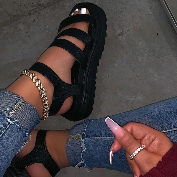 Buckle Platform Open Toe Ankle Strap Plain Platform Sandals
