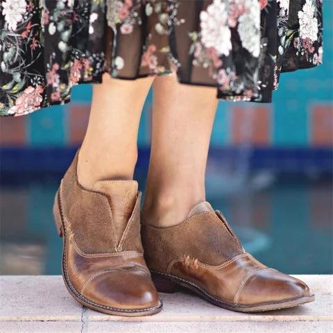 Vintage Slip On Oxford Shoes Paneled Low Heel Loafers
