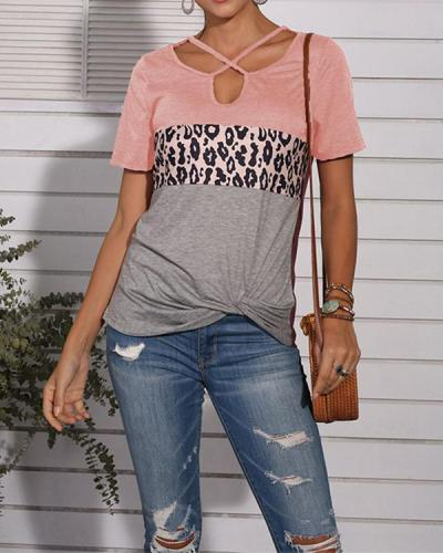 Leopard Print Cross Neck Twisted T-Shirt