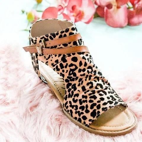 Leopard Casual Summer Leather Zipper Sandals