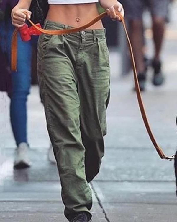 Casual Plain Pockets Women Pants