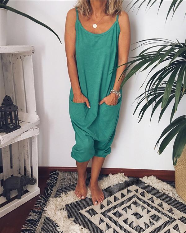 Solid Leisure Loose Casual Summer Jumpsuits