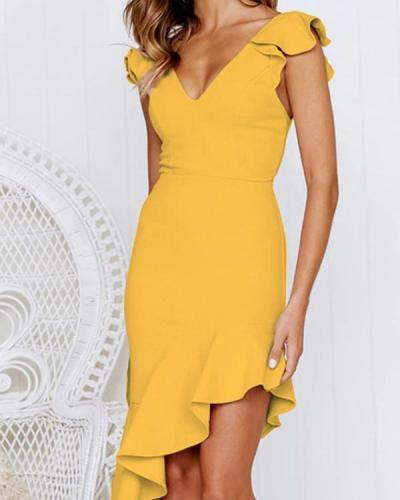 Solid Color Elegant Party Mini Bodycon Dresses