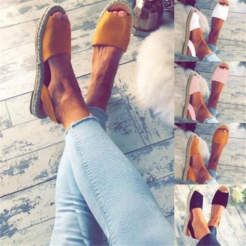 Large Size Women Summer Espadrilles Fashion Peep Toe Flat Heel Sandals