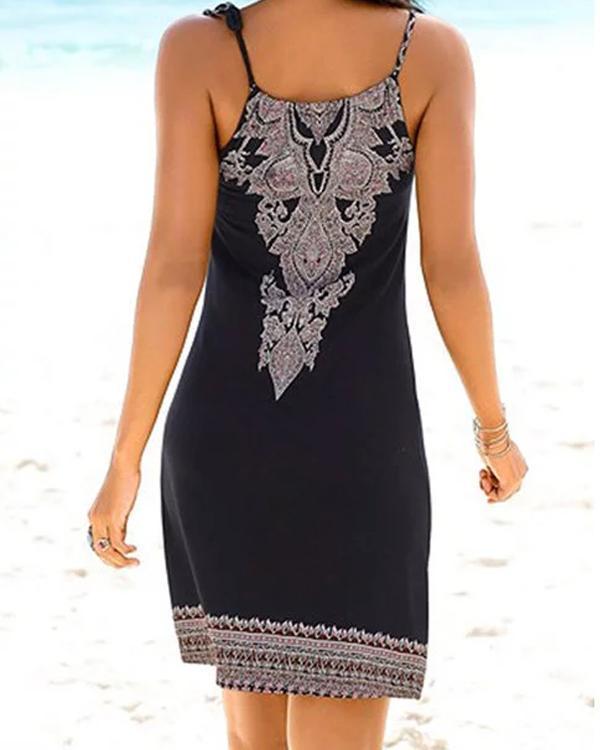 Crew Neck Women Dresses Shift Beach Printed Dresses