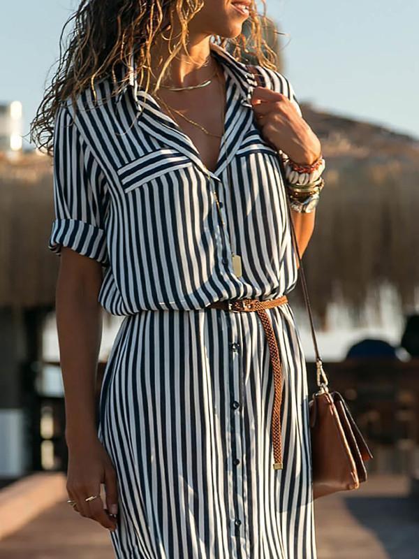 Black-White Half Sleeve Striped Shawl Collar Casual Dresses