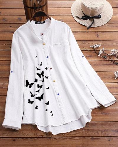Collar Color Button Shirt Butterfly Printed Shirt