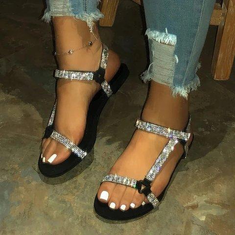 Women Velcro Shining Rhinestone Sandals
