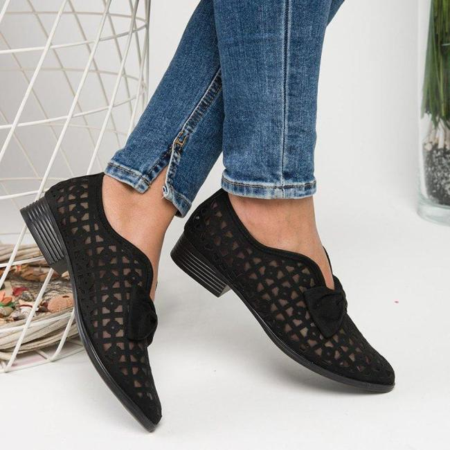 FAUX LEATHER CHUNKY HEEL LOAFERS
