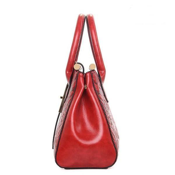 Women PU Leather Retro Embroidery Handbag