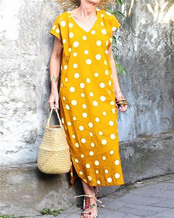 Bohemian Polka Dots Holiday Daily Fashion Maxi Dresses