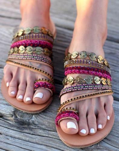 Slip on Artisanal Sandals Handmade Greek Style Boho Sandals
