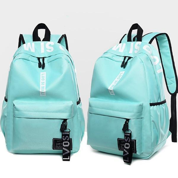 Women's Backpack Letter Pattern Chic Canvas Casual Back Bag